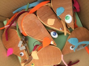 In honour of our little mouse resident we have made wooden mice.